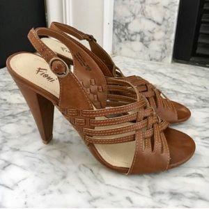 Camel Tan Strappy Heel Boho Sandals